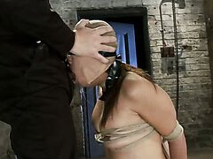 Sexy Japanese girl is tightly bound and brutally skull fucked with cock