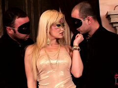 Sexy masked blonde MILF jams their two joy sticks down her throat
