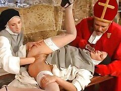 Naughty nuns in a threesome get naughty