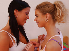 Oxana and Annie are two gorgeous girls who love playing with hot sexy toys and don't miss a chance to tease their wet young pussies with cool new fuck gadgets. Watch these adorable young lesbian kittens get down and dirty playing in the bedroom!
