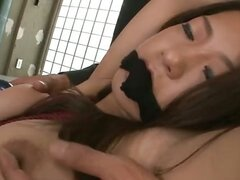 Bound and gagged Satomi Suzuki banged as her titties swing and sway.