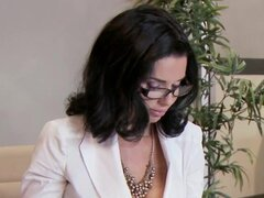 Slutty business woman wearing glasses gets laid