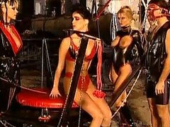 Crazy Group Sex with Babes In Latex Getting Double Penetrated
