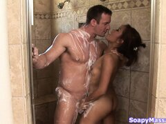 Tiny Asian hooker bathes her client...