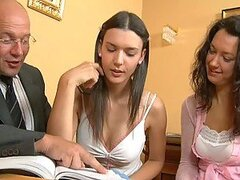 Two hot brunettes Carla and Alice have sex at the interview