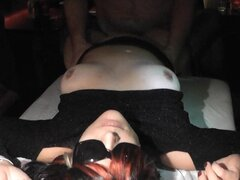 Naughty wife gangbanged by strangers at a sex club