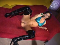Lonely nikki nievez play with dildo on the red sofa