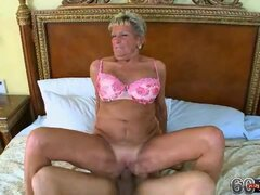 Kinky Grandma Sucks a Big Hard Shaft and Gets Her Old Pussy Rammed