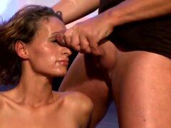Alluring babe gang banged and splashed