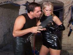 Sweet latex video of this young blonde babe