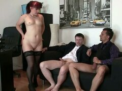 Sexy granny fucked by two young men at the office