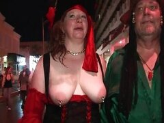 Horny busty mature redhead showing her