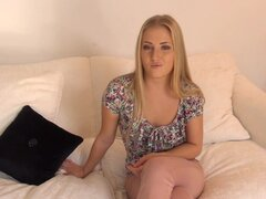 Blonde gets horny to porn casting