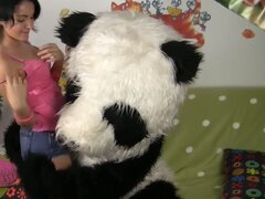 Panda�s brutal dildo action for his cute owner