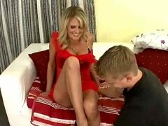 Milf in a red dress fucked