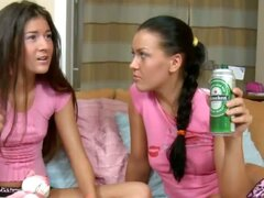 Russian teen hottie Eva Smolina is back and she's brought her newbie girlfriend Vera over to play. What seems like an innocent girls' sleepover as they sit on the bed in their cute pink T-shirts and cotton panties, turns into a night of naughtiness as the