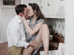 Sweet beauty fuck with her husband after work