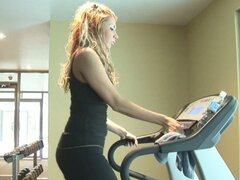 Sexy blonde gives a blowjob at the gym in hd