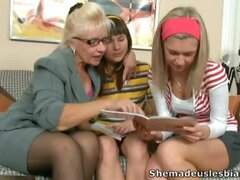 Lesbian threesome with two young babes and mature dam.