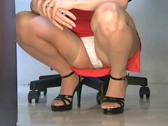Squatting stockings upskirt office