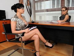 A frisky babe that does the hiring for this company gets to bang the latest interviewee babe