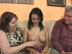 Nasty hotty fucking with her bf's old parents