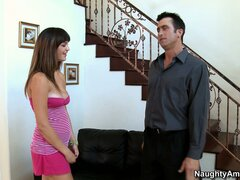 Holly Michaels bares her tits and goes to town on her man's dick