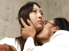 Cute Asian Babe Statue Licked by Horny