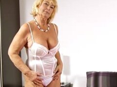 Granny in Lingerie and Stockings Plays