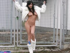 Babe in fuzzy white boots has perfect tits