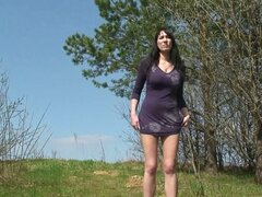Watch busty girl take a piss outdoors