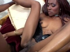 Skinny ebony chick Anna Love gets her pussy licked and fucked hard