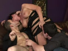 Magdalene St. Michaels gets naughty with two bisexual guys