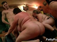 Fat girl at orgy gets pussy pounded