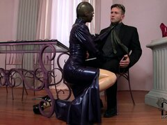 Lucy is a latex whore getting cunnilingus and sucking his cock