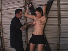 Milf wearing blindfold gets tortured with hot wax