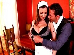Sensual Jane cleans with her tits