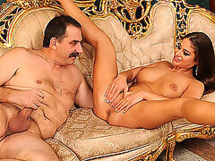Hot Brunette Rides Old Man's Cock in Hot Hardcore Video