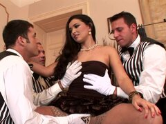 Arousing hottie gets banged by horny males