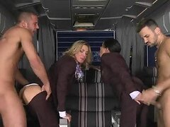 Lucky dudes make your dream come true, they fuck stewardesses