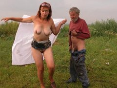 Kostya is a mature 61 year old slut who fucks some dude outside and with pleasure