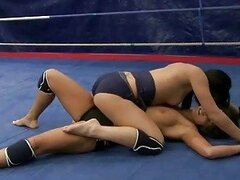 Sexy brunettes in lesbian wrestling