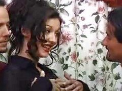 Double penetration of a pretty dark-haired girl