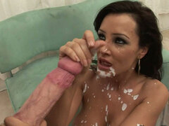 Brunette bitch Lisa Ann starring in a double penetration video and gets huge facial cumshot