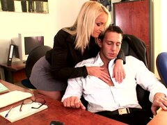 Secretary blonde is sucking a dick of her boss