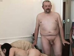 Femdoms catch guy jerking