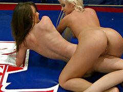Cuties licking each in a ring