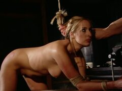 Anal Action in BDSM Vid with Tied Up Blonde Beauty