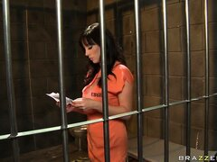 Sweet lesbians making out prison cell...