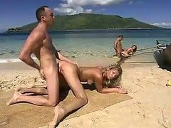 Anal Sex In FFMM Foursome At The Beach with Cristina Blond and Lauren May